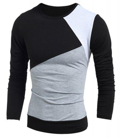 Chic Multicolor Panel Round Neck Long Sleeves T-Shirt BLACK M