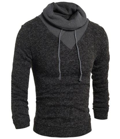 Trendy Personality Drawstring Turtleneck Color Block Spliced Long Sleeves Men's Slimming Thicken Sweater - L DEEP GRAY Mobile