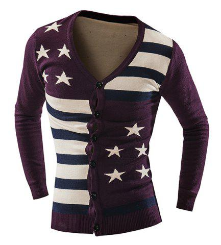 New Vogue Slimming V-Neck American Flag Jacquard Color Block Men's Long Sleeves Thicken Cardigan PURPLISH RED L