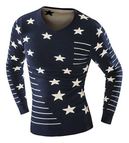 Cheap Thicken Slimming V-Neck Star Stripes Intarsia Color Block Long Sleeves Men's Vogue Sweater