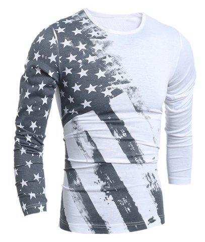 Fashion Personality Star Stripes Irregular Print Color Block Slimming Round Neck Long Sleeves Men's T-Shirt WHITE XL
