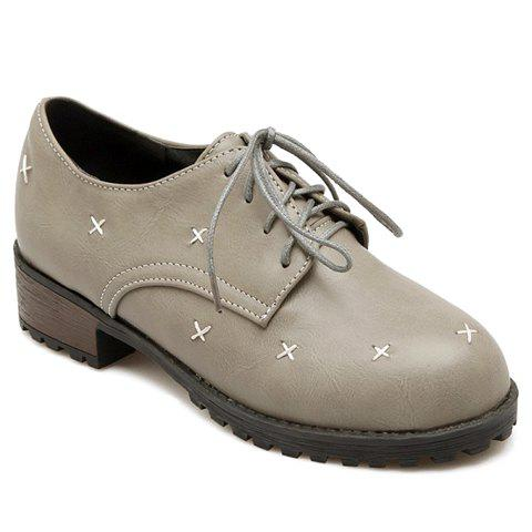 Trendy Cross Pattern and Lace-Up Design Women's Flat Shoes - GRAY 35