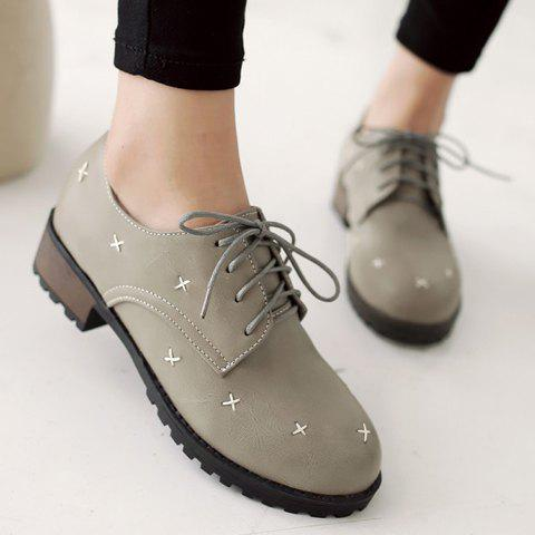 Fancy Trendy Cross Pattern and Lace-Up Design Women's Flat Shoes - 35 GRAY Mobile