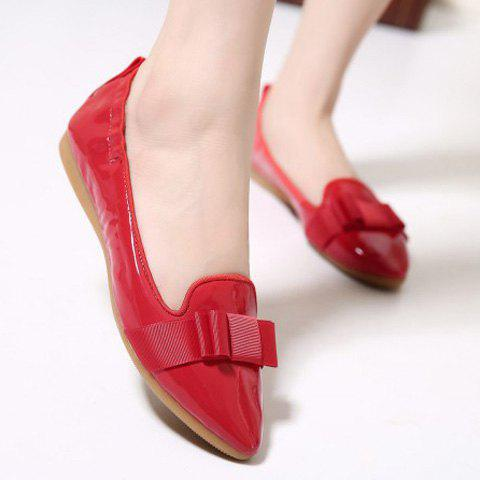 Fancy Simple Ruffle and Bowknot Design Women's Flat Shoes - 37 RED Mobile