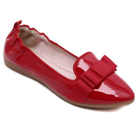 Fancy Simple Ruffle and Bowknot Design Women's Flat Shoes