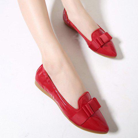 Trendy Simple Ruffle and Bowknot Design Women's Flat Shoes - 37 RED Mobile