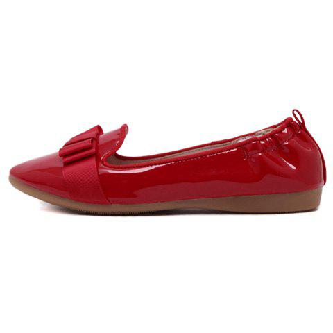 Fashion Simple Ruffle and Bowknot Design Women's Flat Shoes - 37 RED Mobile