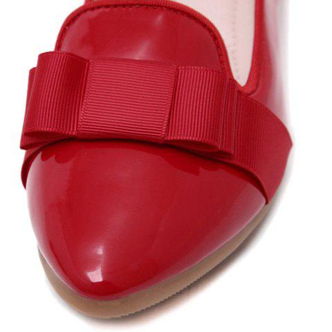 Outfits Simple Ruffle and Bowknot Design Women's Flat Shoes - 37 RED Mobile
