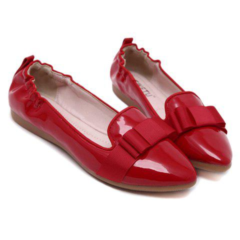 Hot Simple Ruffle and Bowknot Design Women's Flat Shoes - 37 RED Mobile
