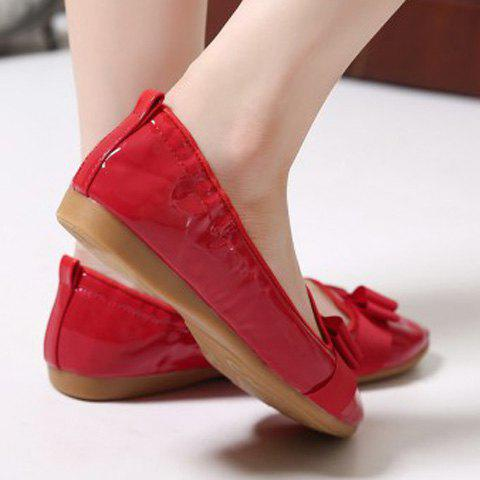 Shop Simple Ruffle and Bowknot Design Women's Flat Shoes - 37 RED Mobile