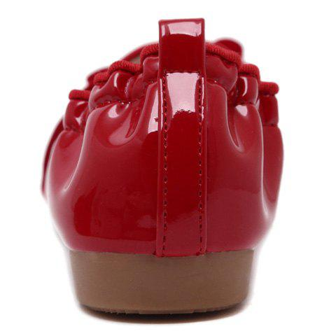 Discount Simple Ruffle and Bowknot Design Women's Flat Shoes - 37 RED Mobile