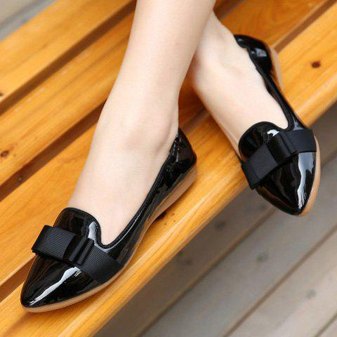 Latest Simple Ruffle and Bowknot Design Women's Flat Shoes - 37 BLACK Mobile