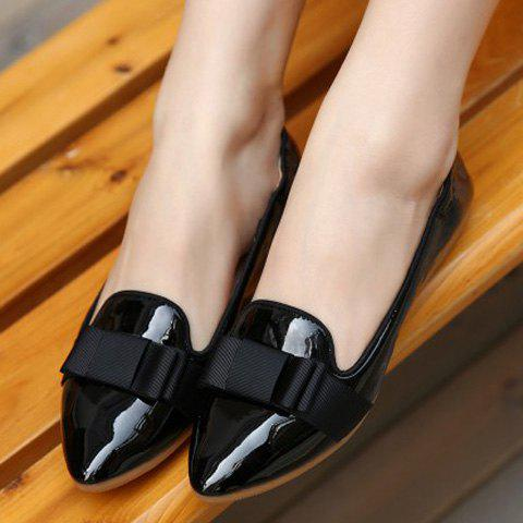 Outfits Simple Ruffle and Bowknot Design Women's Flat Shoes - 37 BLACK Mobile