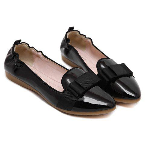 Trendy Simple Ruffle and Bowknot Design Women's Flat Shoes - 37 BLACK Mobile