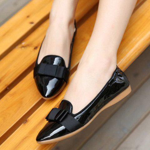 New Simple Ruffle and Bowknot Design Women's Flat Shoes - 37 BLACK Mobile