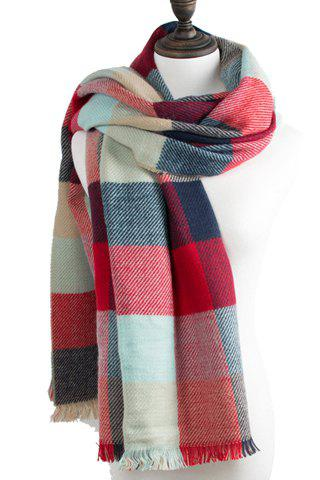 Affordable Chic Multicolor Plaid Pattern Fringed Edge Scarf For Women