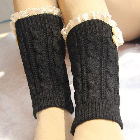 Shop Pair of Chic Lace and Button Embellished Hemp Flowers Knitted Boot Cuffs For Women