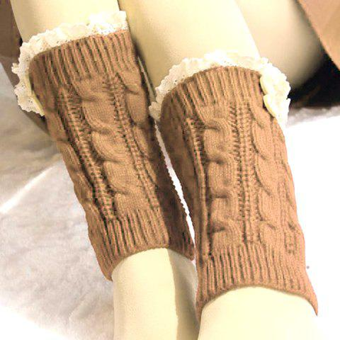 Pair of Chic Lace and Button Embellished Hemp Flowers Knitted Boot Cuffs For Women - KHAKI