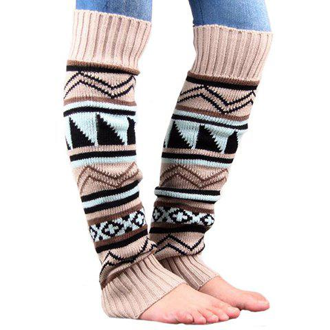 Fashion Pair of Chic Tribal Geometric Pattern Knitted Leg Warmers For Women OFF-WHITE