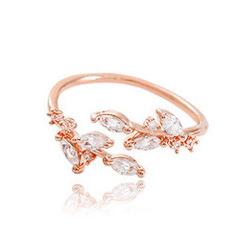 Fancy Chic Rhinestone Tree Leaf Cuff Ring For Women ROSE GOLD ONE-SIZE