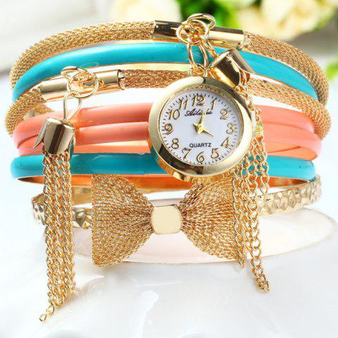 Unique Ailisha Multilayer Quartz Chain Watch with Pendants Bowknot for Women