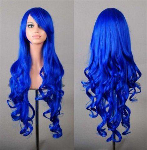 Store Assorted Color Harajuku Long Side Bang Fashion Fluffy Wavy Synthetic Cosplay Wig For Women - SAPPHIRE BLUE  Mobile