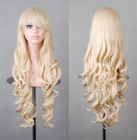 Shop Assorted Color Harajuku Long Side Bang Fashion Fluffy Wavy Synthetic Cosplay Wig For Women - LIGHT GOLD  Mobile