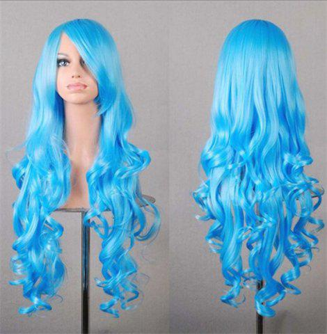 Cheap Assorted Color Harajuku Long Side Bang Fashion Fluffy Wavy Synthetic Cosplay Wig For Women - WATER BLUE  Mobile