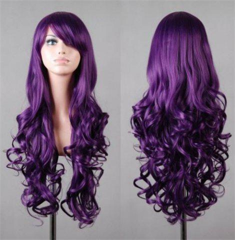 Store Assorted Color Harajuku Long Side Bang Fashion Fluffy Wavy Synthetic Cosplay Wig For Women PURPLE