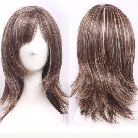 Discount Shaggy Medium Brown Mixed Blonde Capless Elegant Side Bang Straight Synthetic Wig For Women