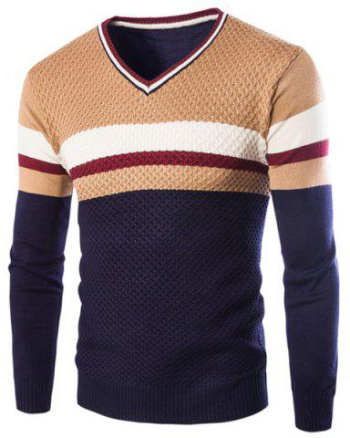 Outfits Slimming V-Neck Hit Color Stripes Wave Twist Flowers Long Sleeves Men's Cashmere Blend Sweater