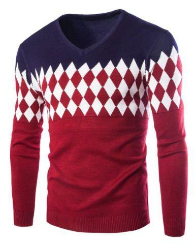 Store Classic Argyle Jacquard Color Splicing Slimming V-Neck Long Sleeves Men's Cashmere Blend Sweater