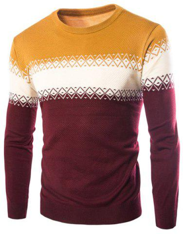 New Color Block Spliced Rhombus Jacquard Slimming Round Neck Long Sleeves Men's Cashmere Blend Sweater