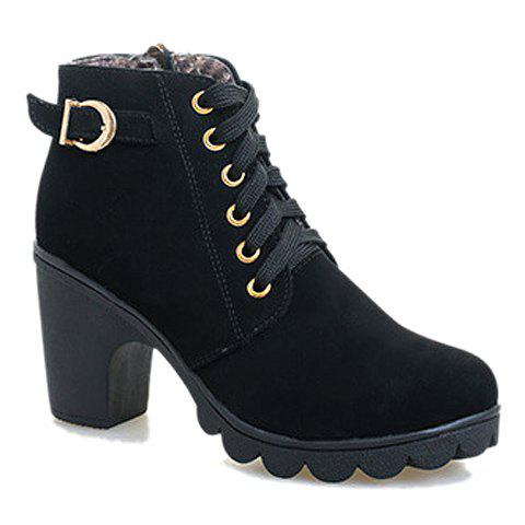Shops Simple Style Metallic Buckle and Lace Up Design Women's High Heel Boots