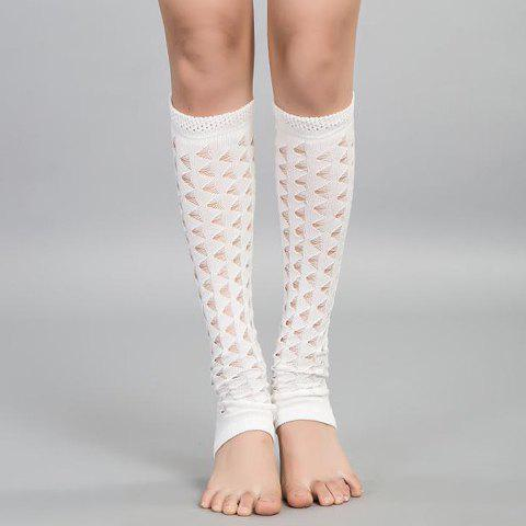Online Pair of Chic Hollow Out Foot Step Knitted Leg Warmers For Women
