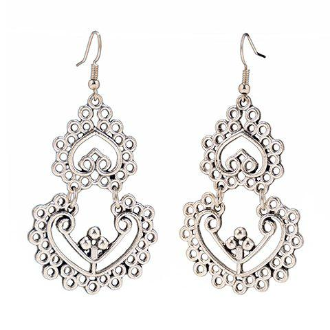 Shop Pair of Vintage Hollow Out Heart Earrings For Women