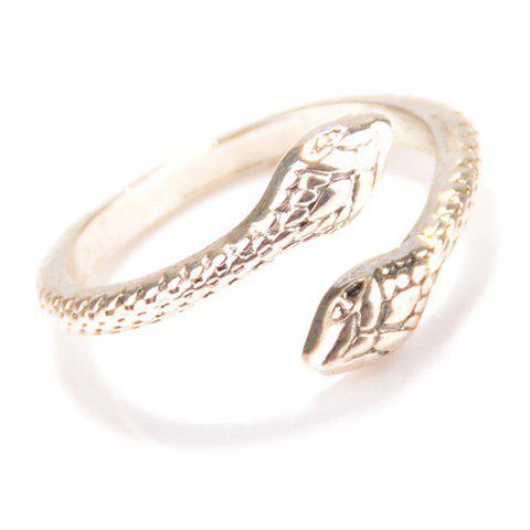 New Punk Snake Cuff Ring - ONE-SIZE SILVER Mobile