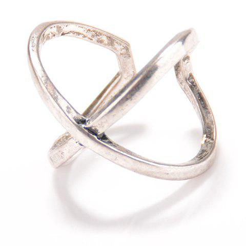 Affordable Vintage X Shape Cuff Ring SILVER ONE-SIZE