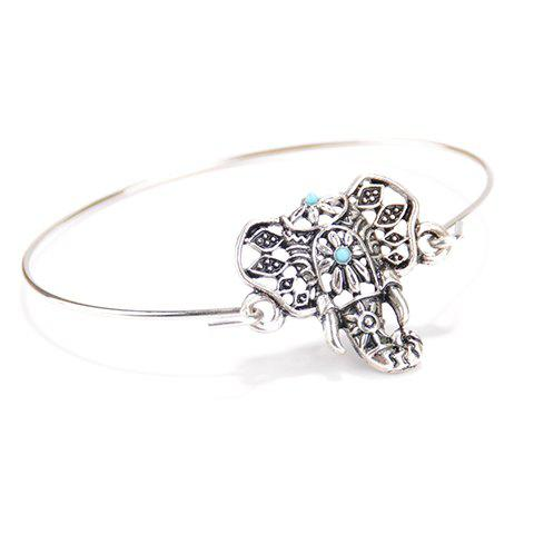 Trendy Vintage Hollow Out Totem Elephant Bracelet SILVER