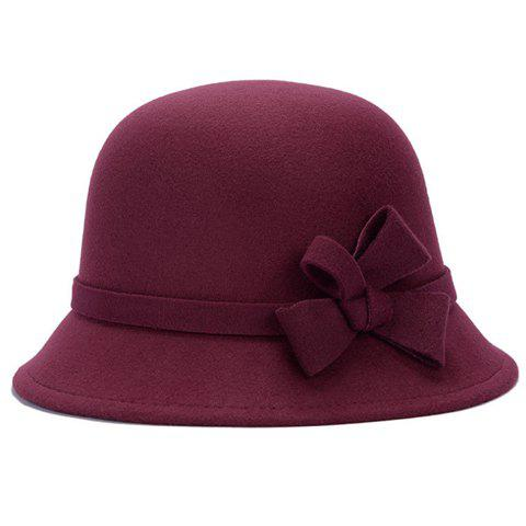 Outfit Chic Solid Color Lace-Up and Bowknot Bowler Hat For Women COLOR ASSORTED