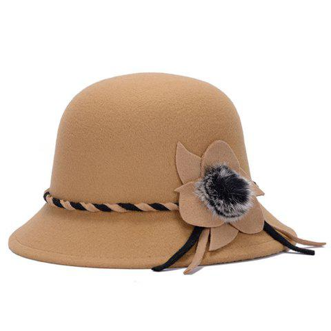 Discount Elegant Solid Color Big Flower and Downy Ball Lace-Up Women's Felt Hat