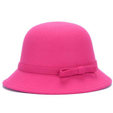 Buy Chic Lace-Up and Bar Bowknot Felt Bowler Hat For Women COLOR ASSORTED