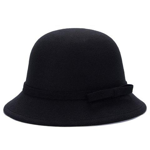 Shops Chic Lace-Up and Bar Bowknot Felt Bowler Hat For Women - COLOR ASSORTED  Mobile