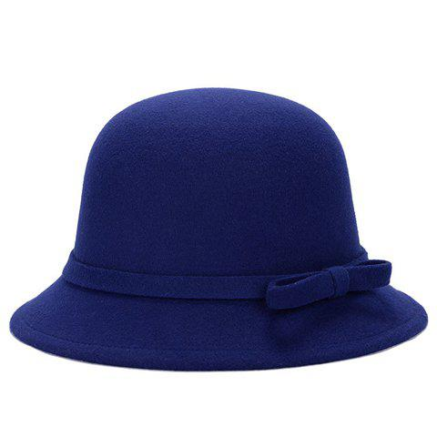 Sale Chic Lace-Up and Bar Bowknot Felt Bowler Hat For Women - COLOR ASSORTED  Mobile