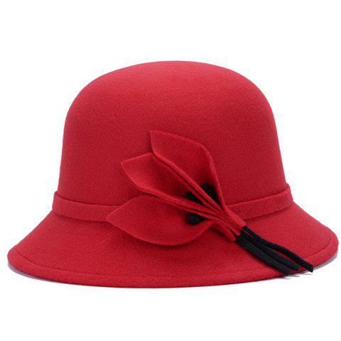 Hot Chic Solid Color Leaves and Lace-Up Felt Bowler Hat For Women