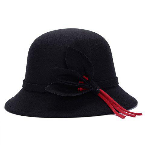 Shops Chic Solid Color Leaves and Lace-Up Felt Bowler Hat For Women - COLOR ASSORTED  Mobile
