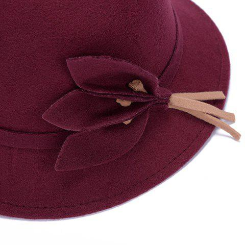 Unique Chic Solid Color Leaves and Lace-Up Felt Bowler Hat For Women - COLOR ASSORTED  Mobile