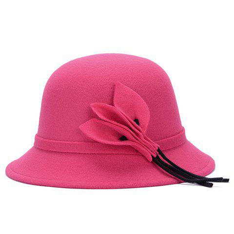 Online Chic Solid Color Leaves and Lace-Up Felt Bowler Hat For Women - COLOR ASSORTED  Mobile