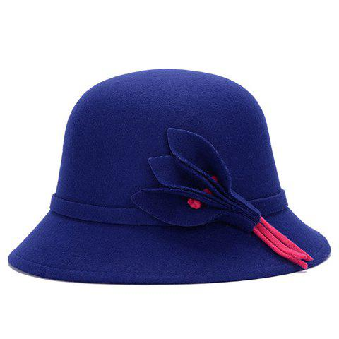 Sale Chic Solid Color Leaves and Lace-Up Felt Bowler Hat For Women - COLOR ASSORTED  Mobile