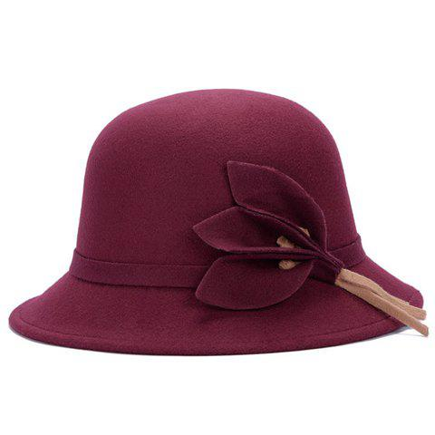 Trendy Chic Solid Color Leaves and Lace-Up Felt Bowler Hat For Women - COLOR ASSORTED  Mobile